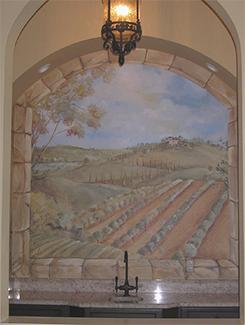 Dining room vineyard scene