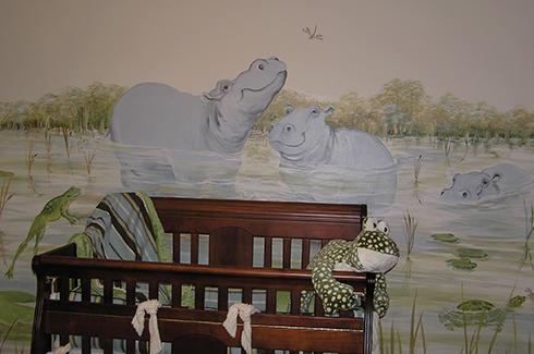 Hippo Nursery Wall Mural