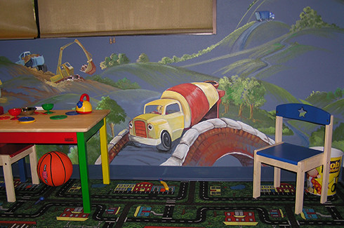 Construction Fun on Hospital Mural