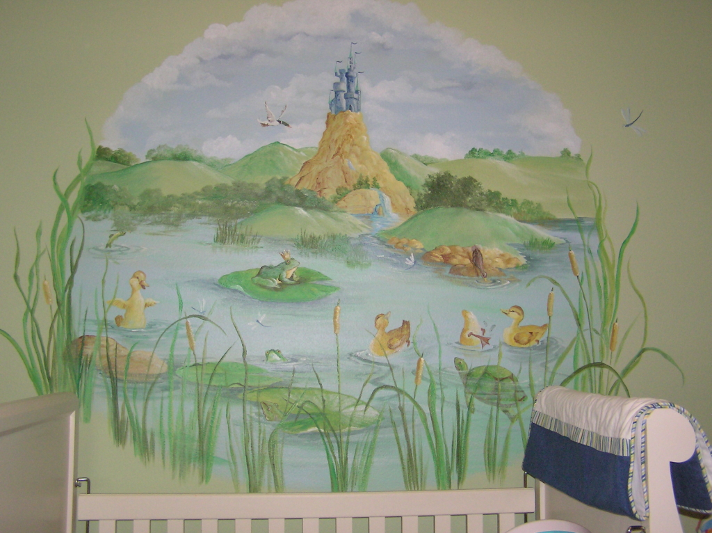Nursery wall murals by mural artist juli simon in orlando fl for Baby nursery wall mural